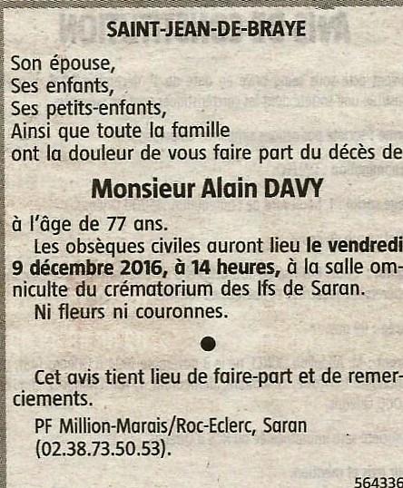 Avis deces alain davy